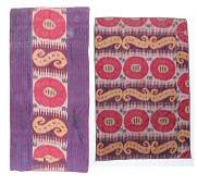 Two Antique Central Asian Silk Ikat Panels