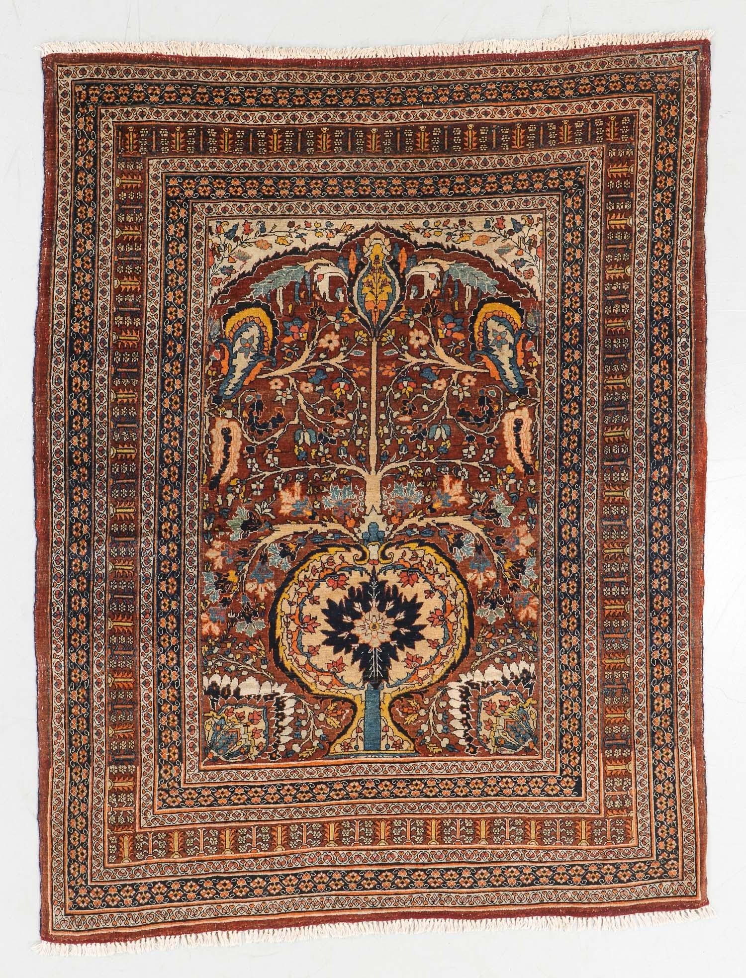 Antique Tabriz Prayer Rug, Persia: 4'5'' x 5'11''