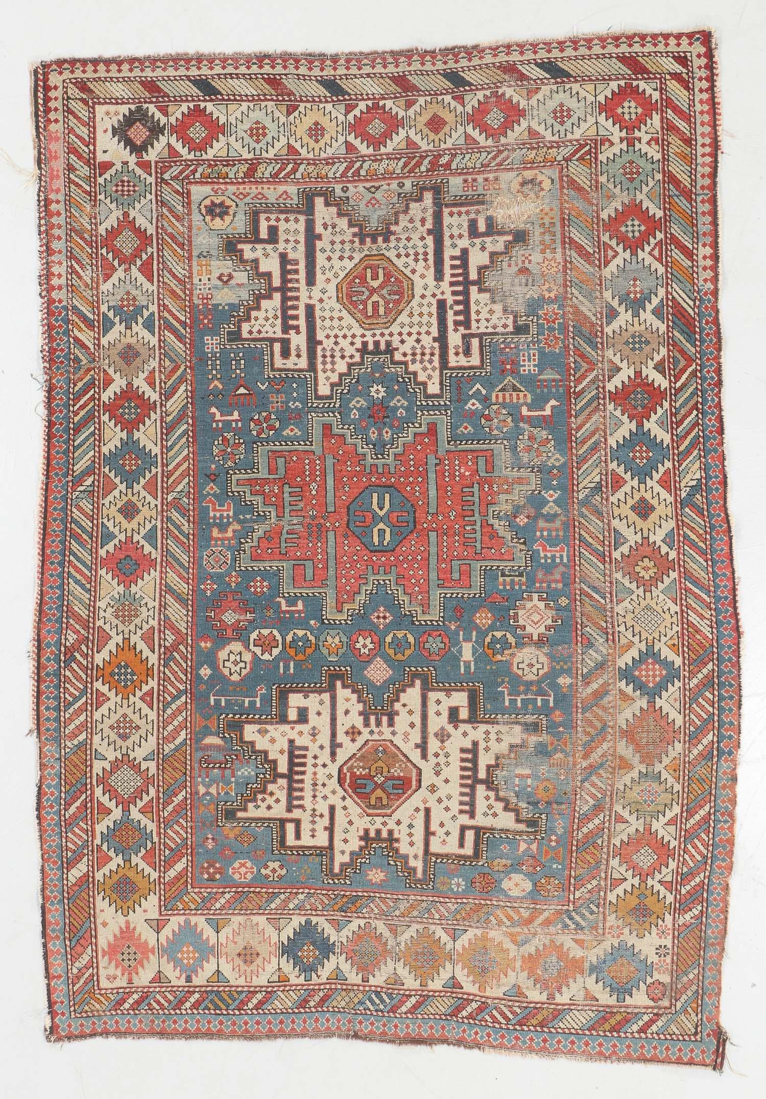 Antique Lesghi Shirvan Rug, Caucasus: 4'1'' x 6'1''