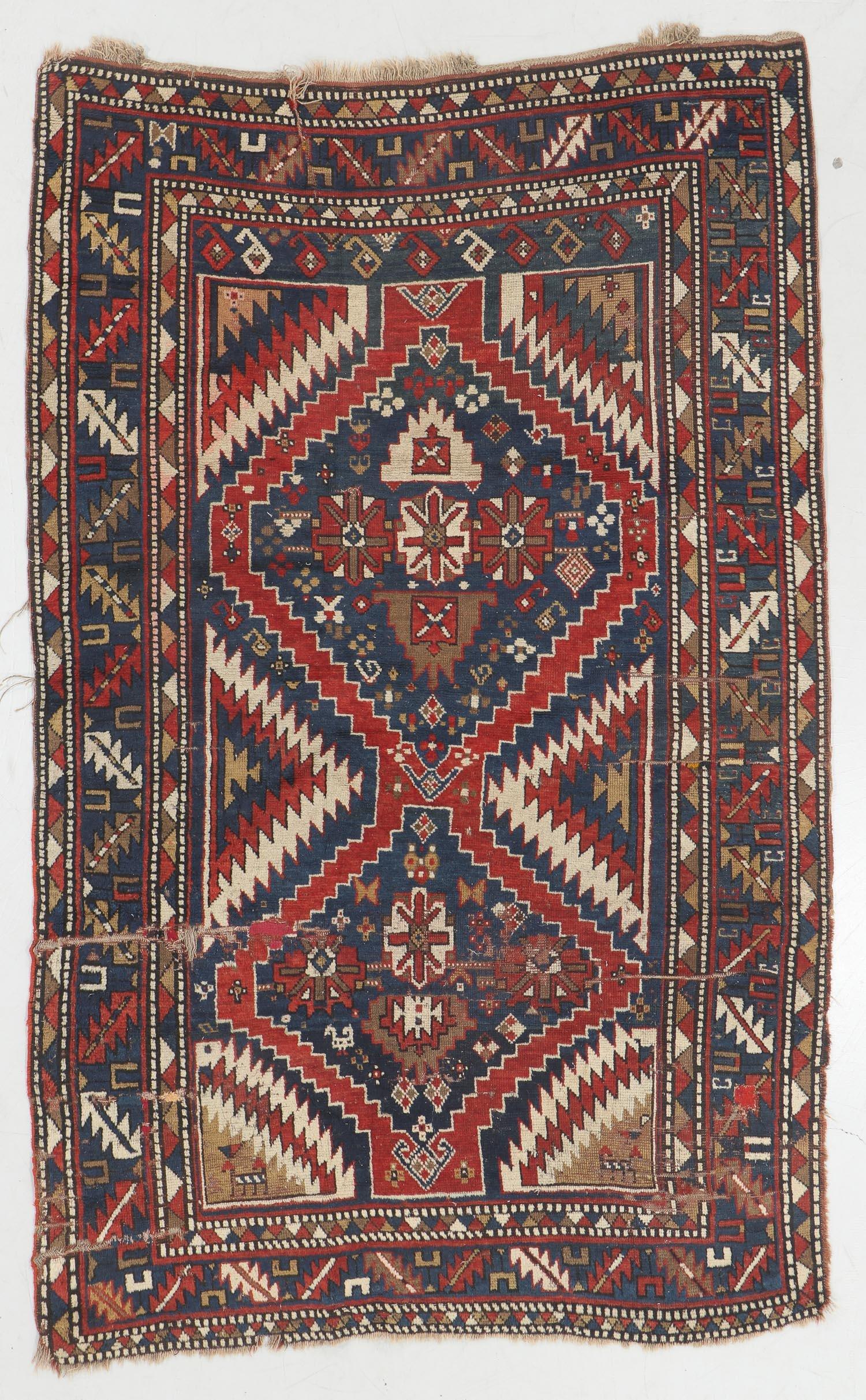 Antique Kazak Rug, Caucasus: 4'8'' x 7'6''