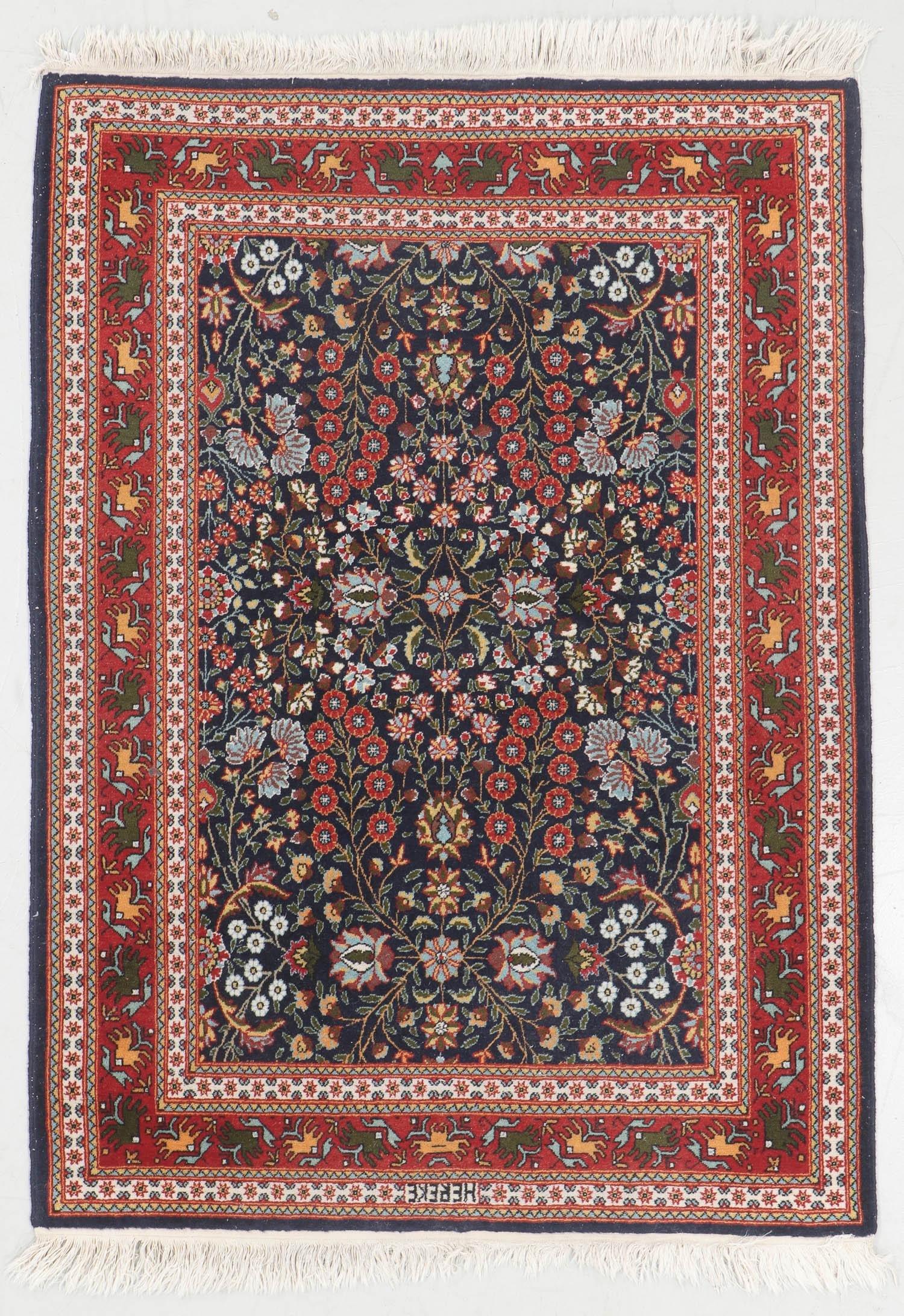 Vintage Wool Signed Hereke Rug, Turkey: 3'6'' x 4'11''