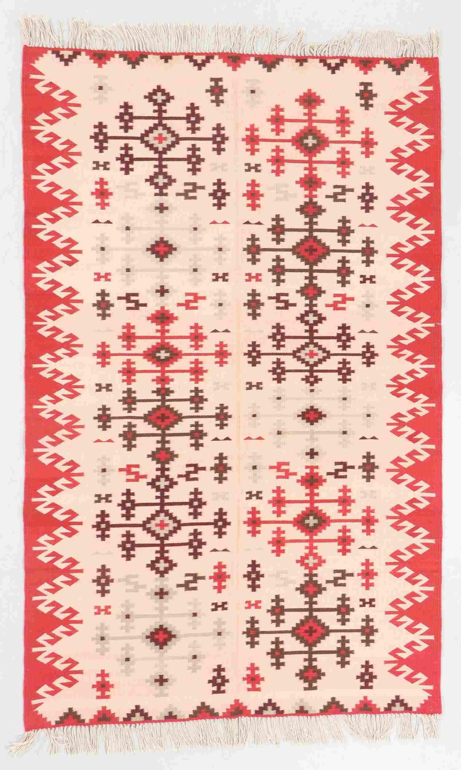 Modern Zapotec Wool Kilim, Mexico: 4'11'' x 7'10''