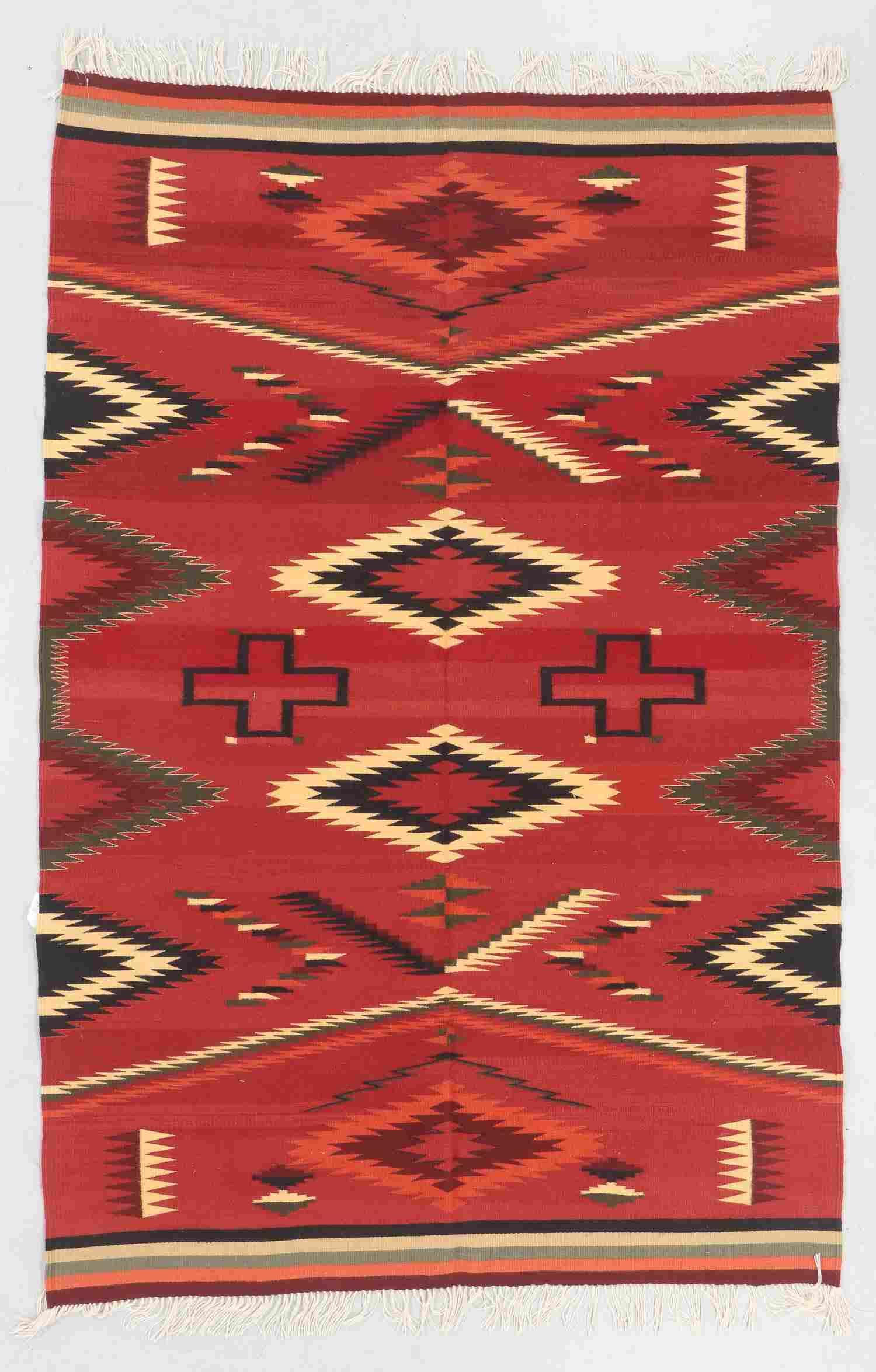 Modern Zapotec Wool Kilim, Mexico: 5'10'' x 8'10''
