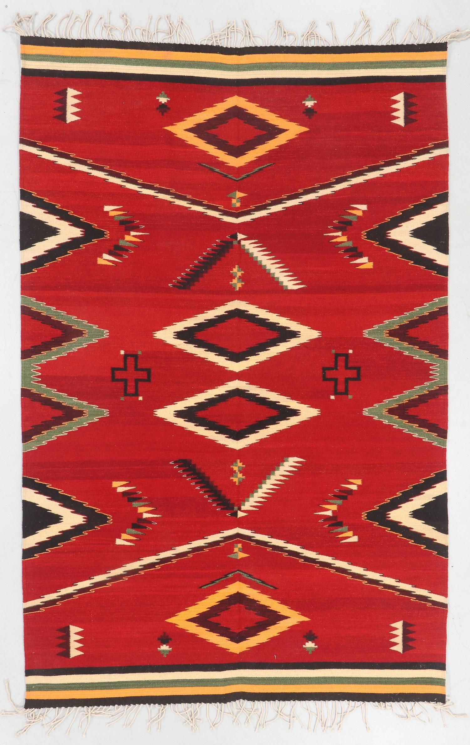 Modern Zapotec Wool Kilim, Mexico: 5'10'' x 9'1''