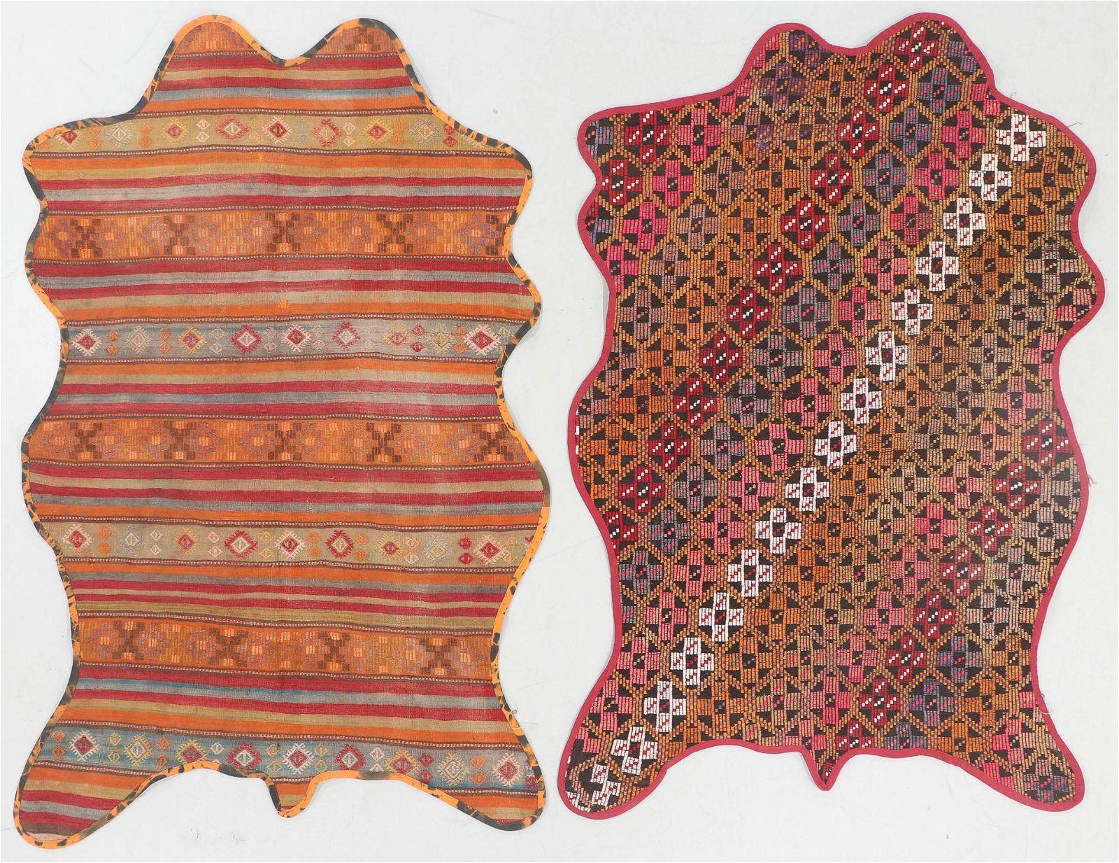 """2 Vintage Turkish Kilim """"Bear Rugs"""""""