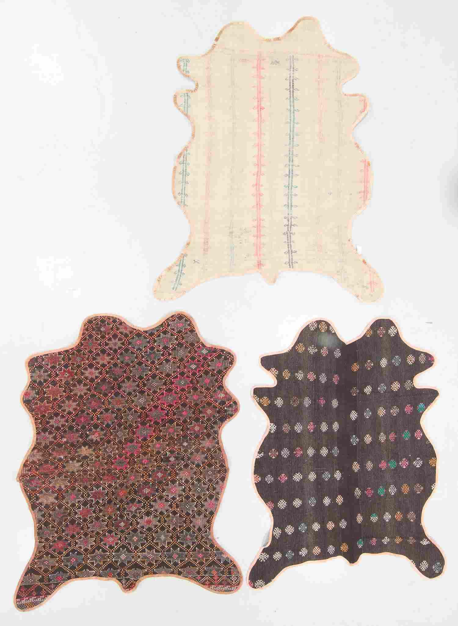 """3 Vintage Turkish Kilim """"Bear Rugs"""""""