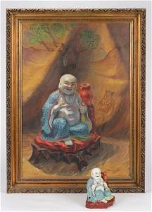 Painting of a Chinese Porcelain Figurine, Together with