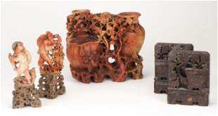 Group of Asian Carved Soapstone Items