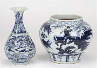 2 Old Chinese Blue and White Vessels