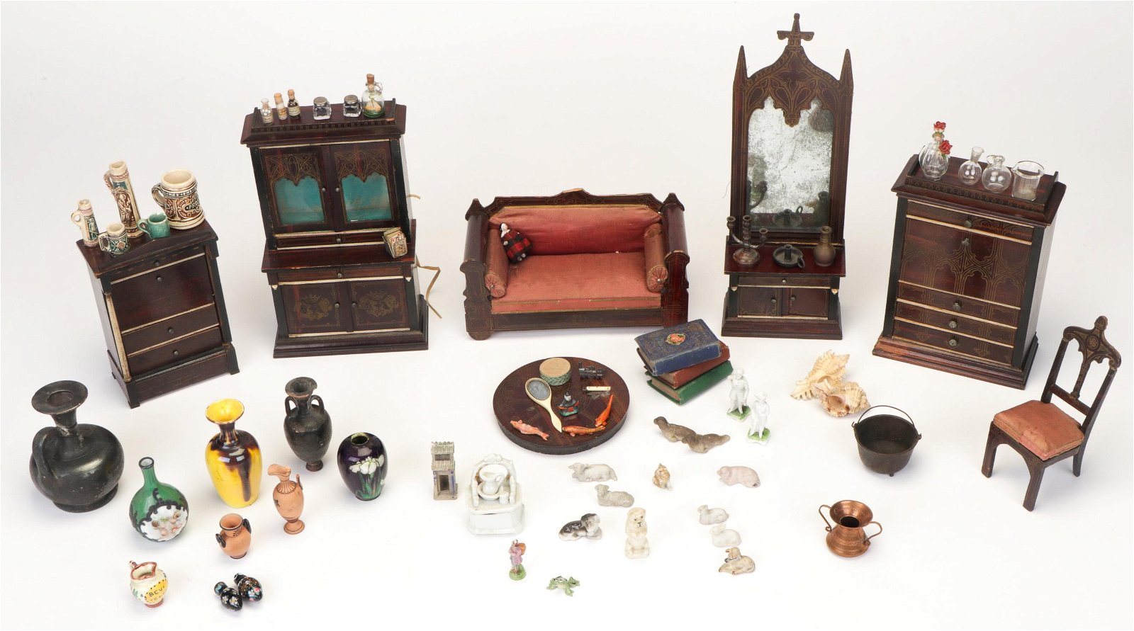 Group of Antique Doll House Furniture and Miniatures