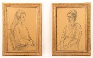 Pair of American 20th c Portraits