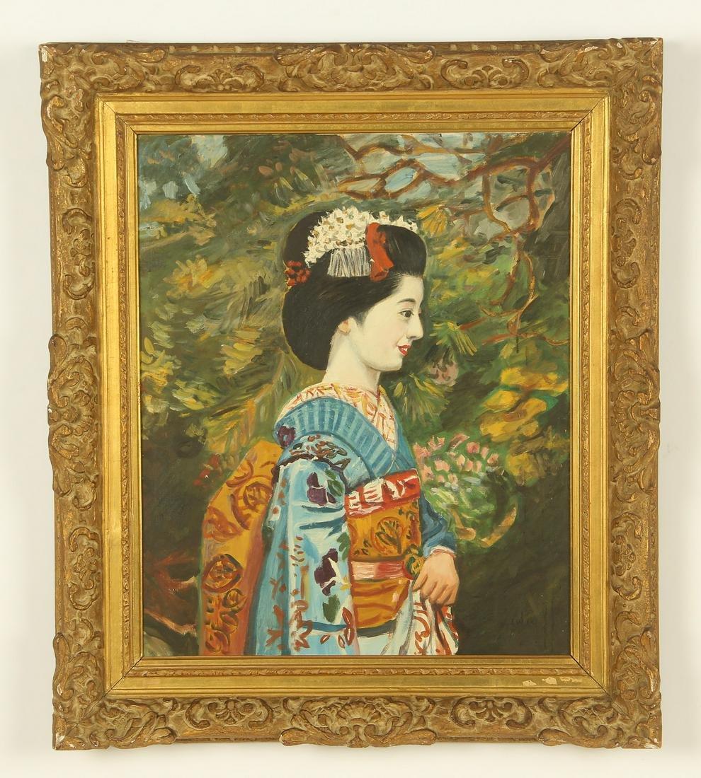 """Geisha In Garden"" Painting"
