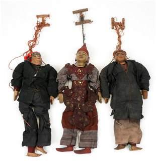 Three Antique Burmese Marionettes