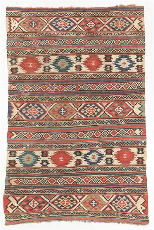 "Antique Shirvan Kilim, Turkey: 5'8'' x 8'8"""