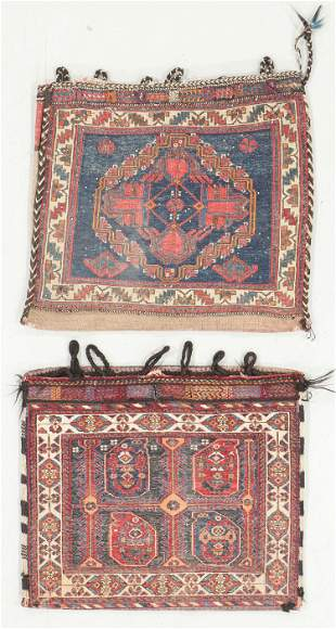 2 Antique Afshar Sumak Cargo Bags, Persia