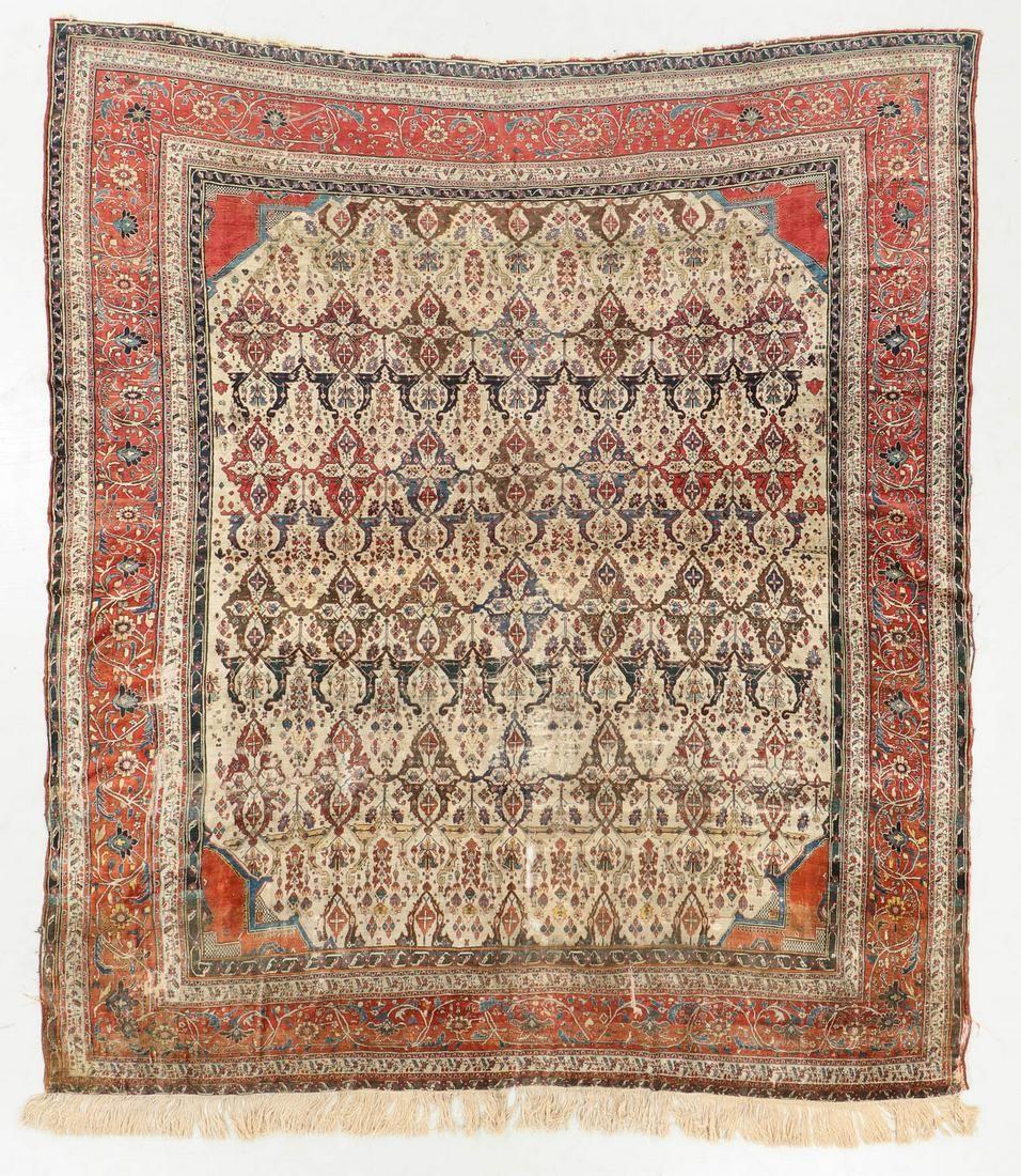 Antique Silk Heriz Rug, Persia: 7'8'' x 9'1''