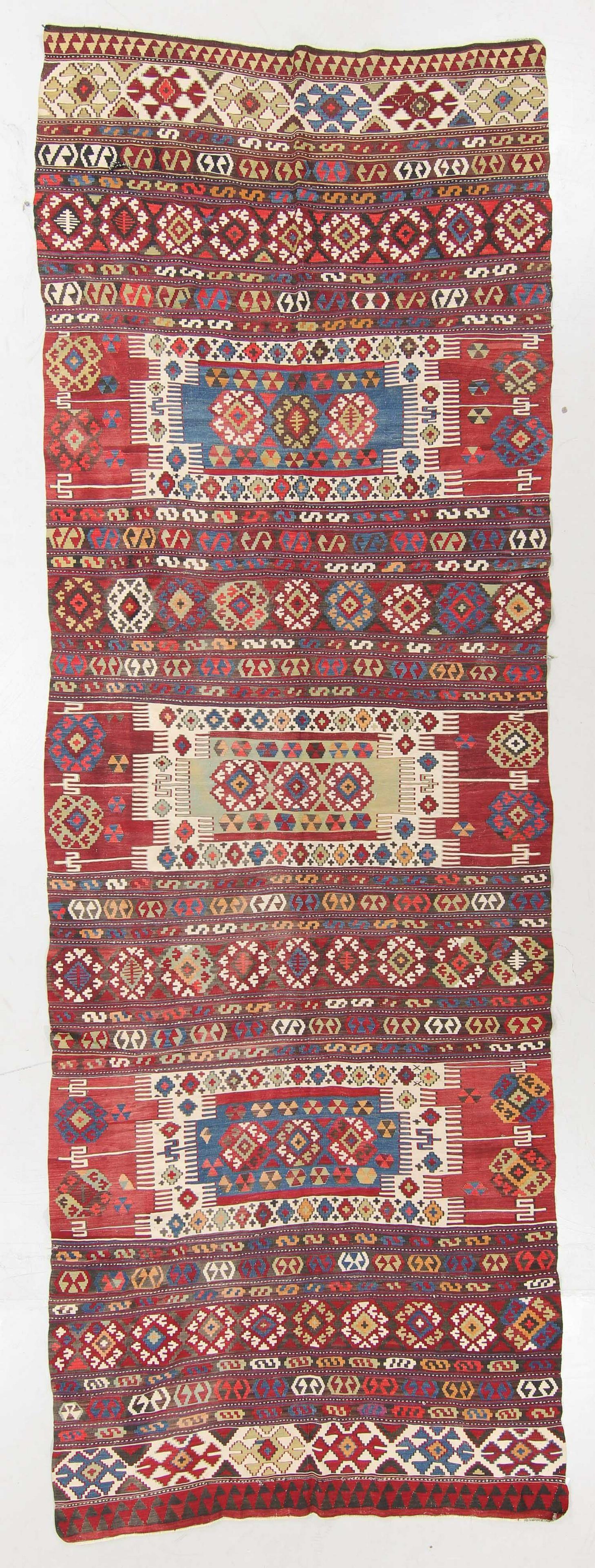 Antique Central Anatolian Kilim, Turkey: 5'5'' x 16'2''