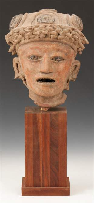 "Pre-Columbian Veracruz Pottery Head Fragment, Ht. 9"""
