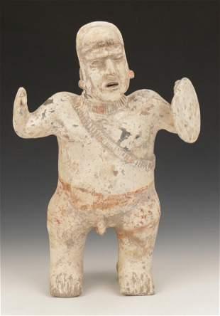 Pre-Columbian Jalisco Pottery Standing Warrior Figure,