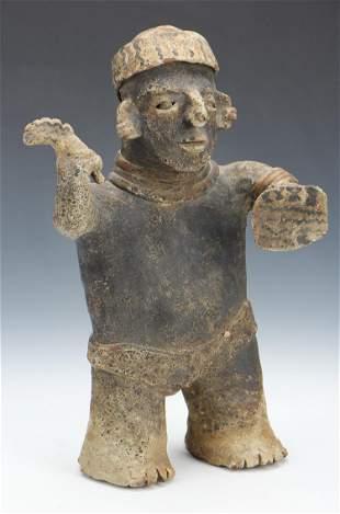 Pre-Columbian Nayarit Pottery Standing Warrior, Ht.