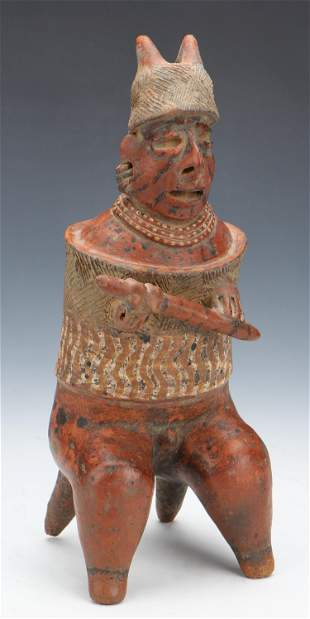 "Pre-Columbian Nayarit Pottery Warrior Figure, Ht. 12.5"""