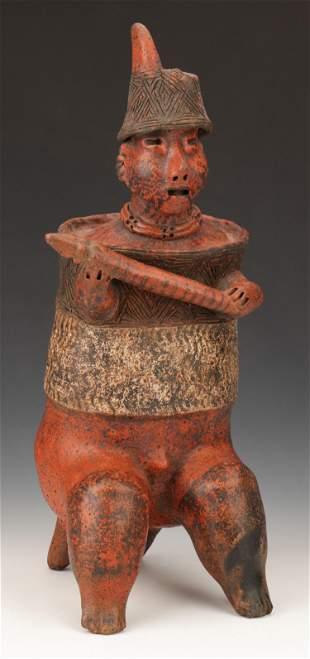 "Pre-Columbian Nayarit Pottery Warrior, Ht. 20"""