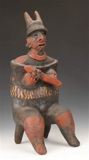 "Pre-Columbian Nayarit Pottery Warrior, Ht. 17"""