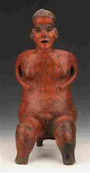 Pre-Columbian Nayarit Pottery Seated Female Figure, Ht.