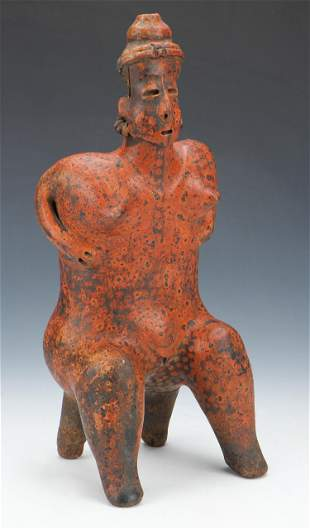 "Pre-Columbian Nayarit Pottery Seated Figure, Ht. 15.5"""