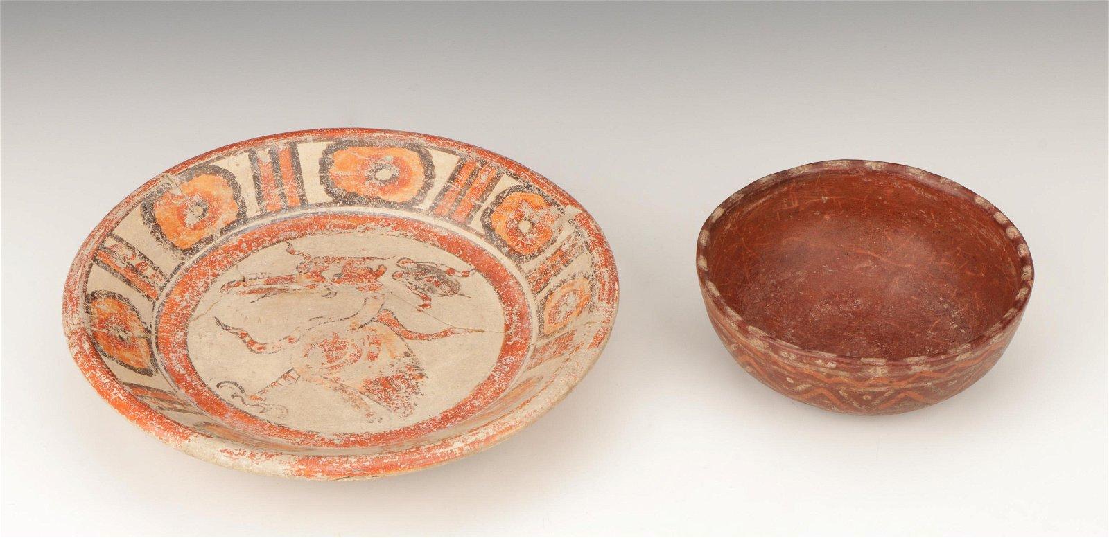 Two Pre-Columbian Mayan Pottery Bowls