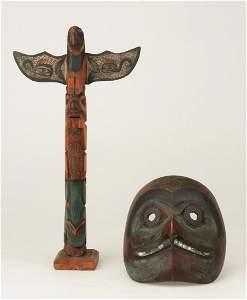 Old Haida Hawk Mask and a Small Totem Pole