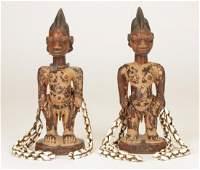 Pair of African Yoruba Ibeji (Twins) Figures, Nigeria