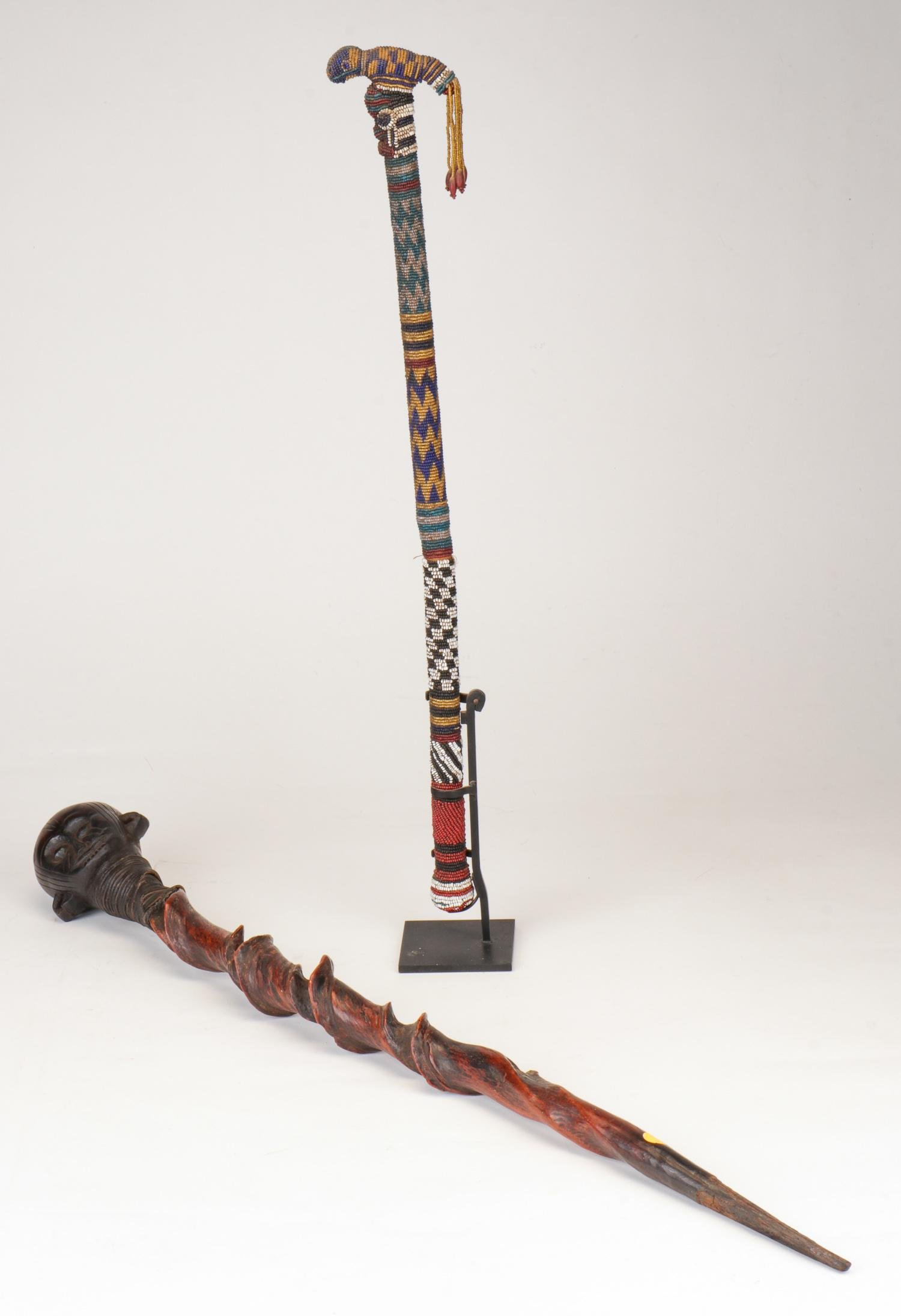 Two African Carved Wood and Beaded Staffs