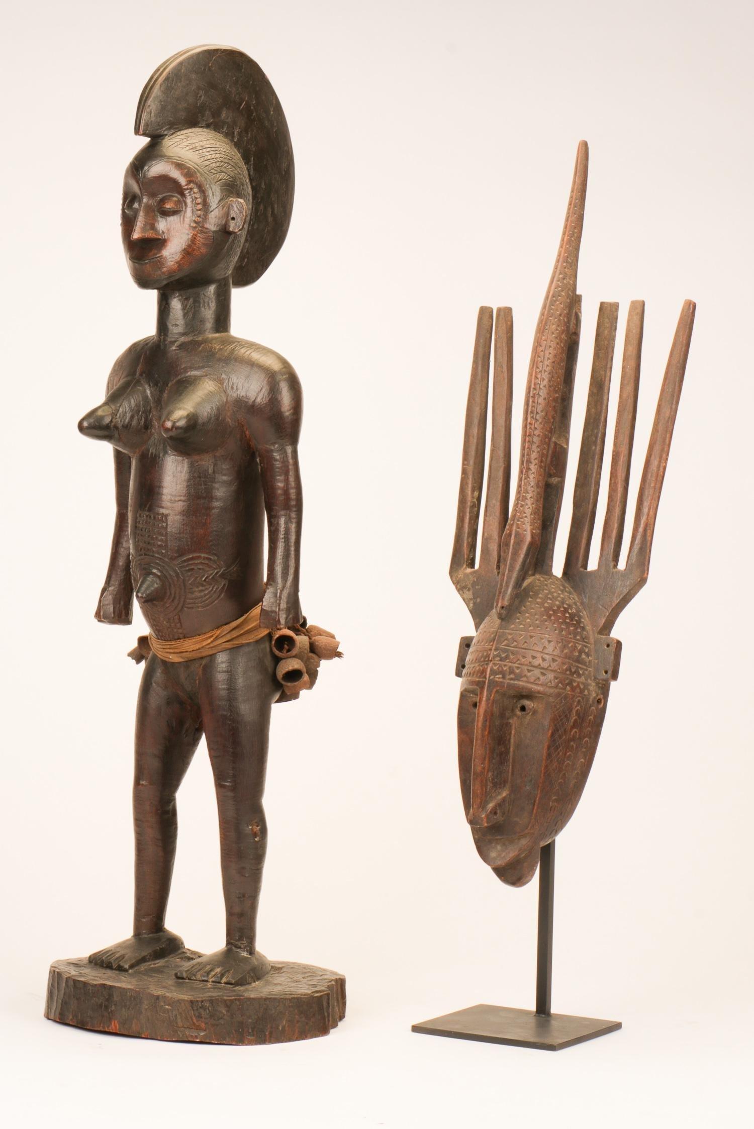 African Tiv Figure and a Bamana Segou Style Mask