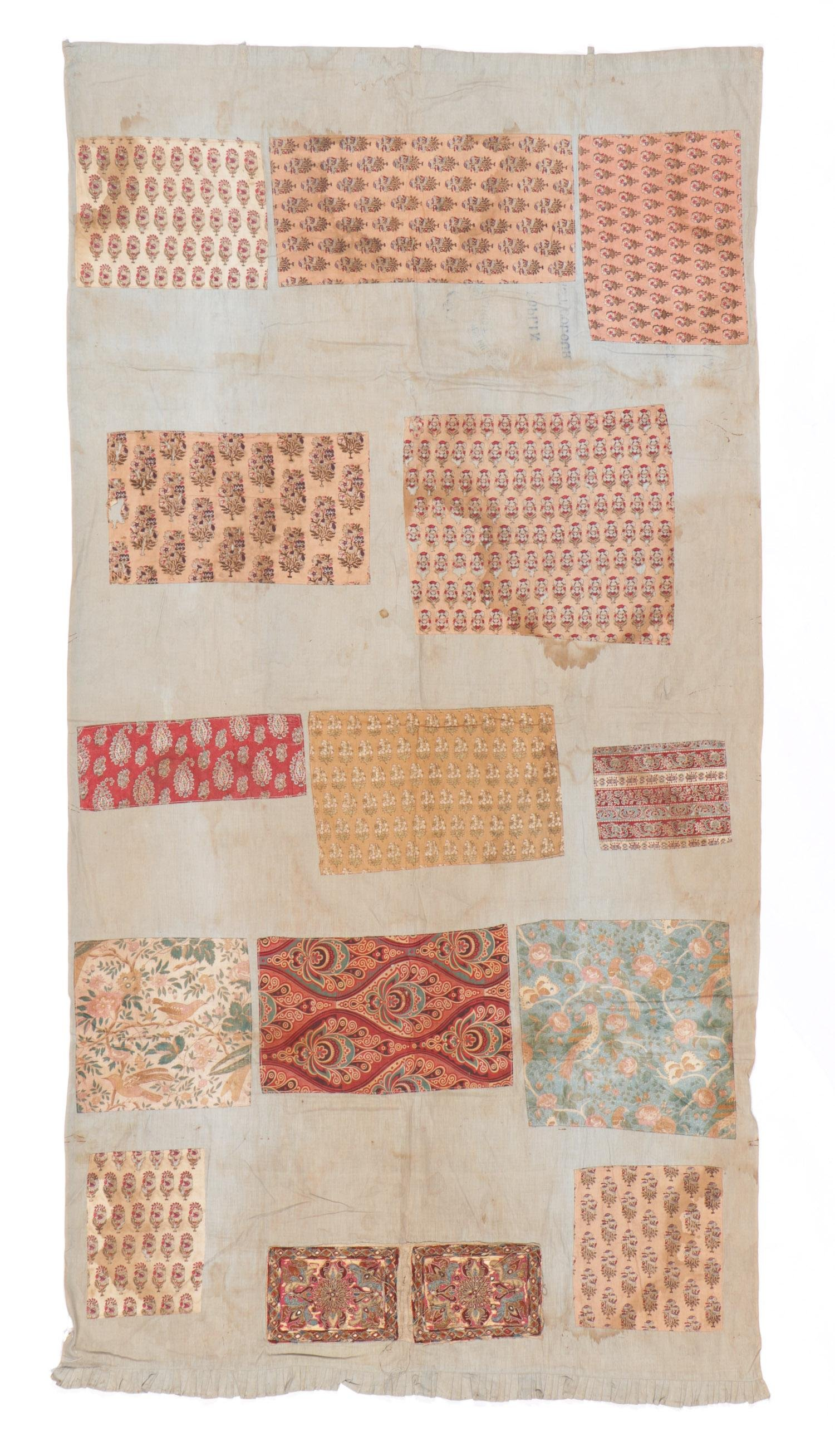 """Textile """"Sampler"""", India, Early 19th C"""