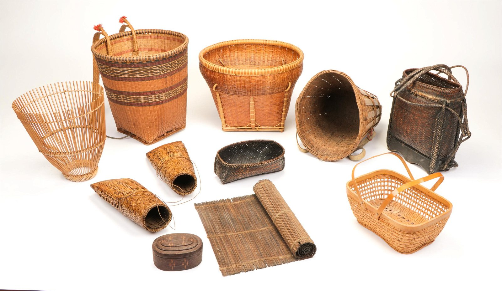 Collection of  11 Asian Basketry Items