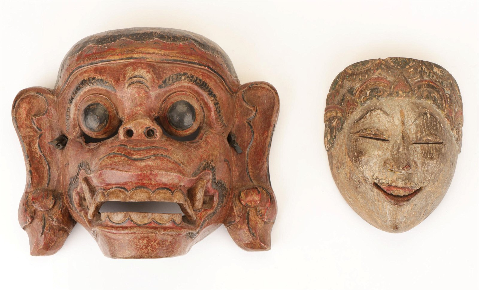 2 Indonesian Masks, late 19th/early 20th C.