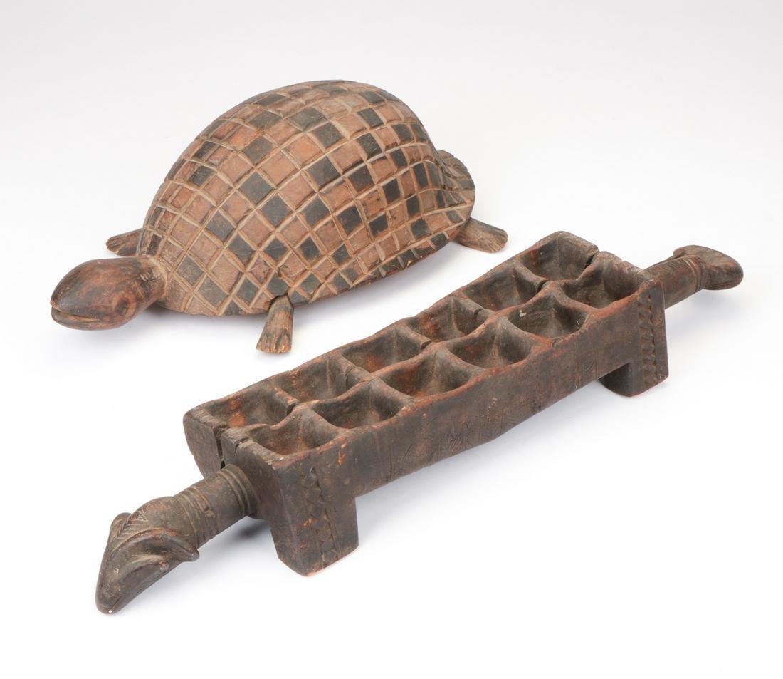 African Dan Mankala Game Board and Turtle