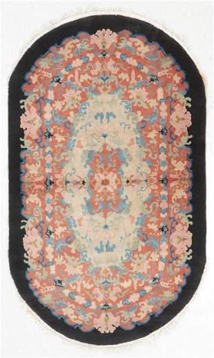 Art Deco Oval Rug, China, Early 20th C.