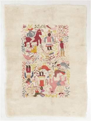 Mid 20th Century South American Wool Folk Art Rug,