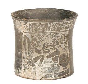 Pre-Columbian Mayan Incised Blackware Vessel (700-850