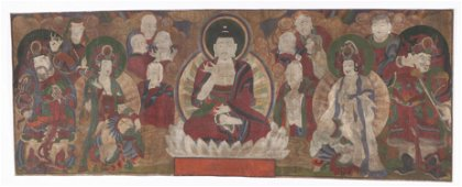 Antique Scroll Painting of Buddha and Celestial Beings,