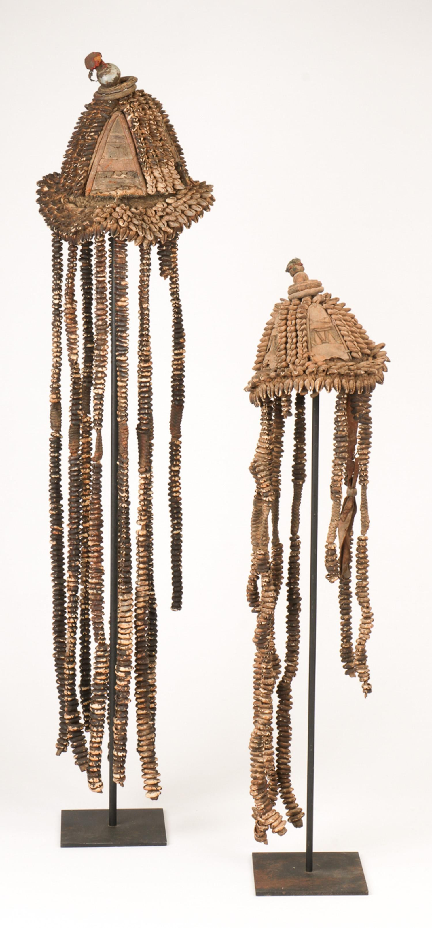 Two African Cowrie Shell Headdresses, Nigeria
