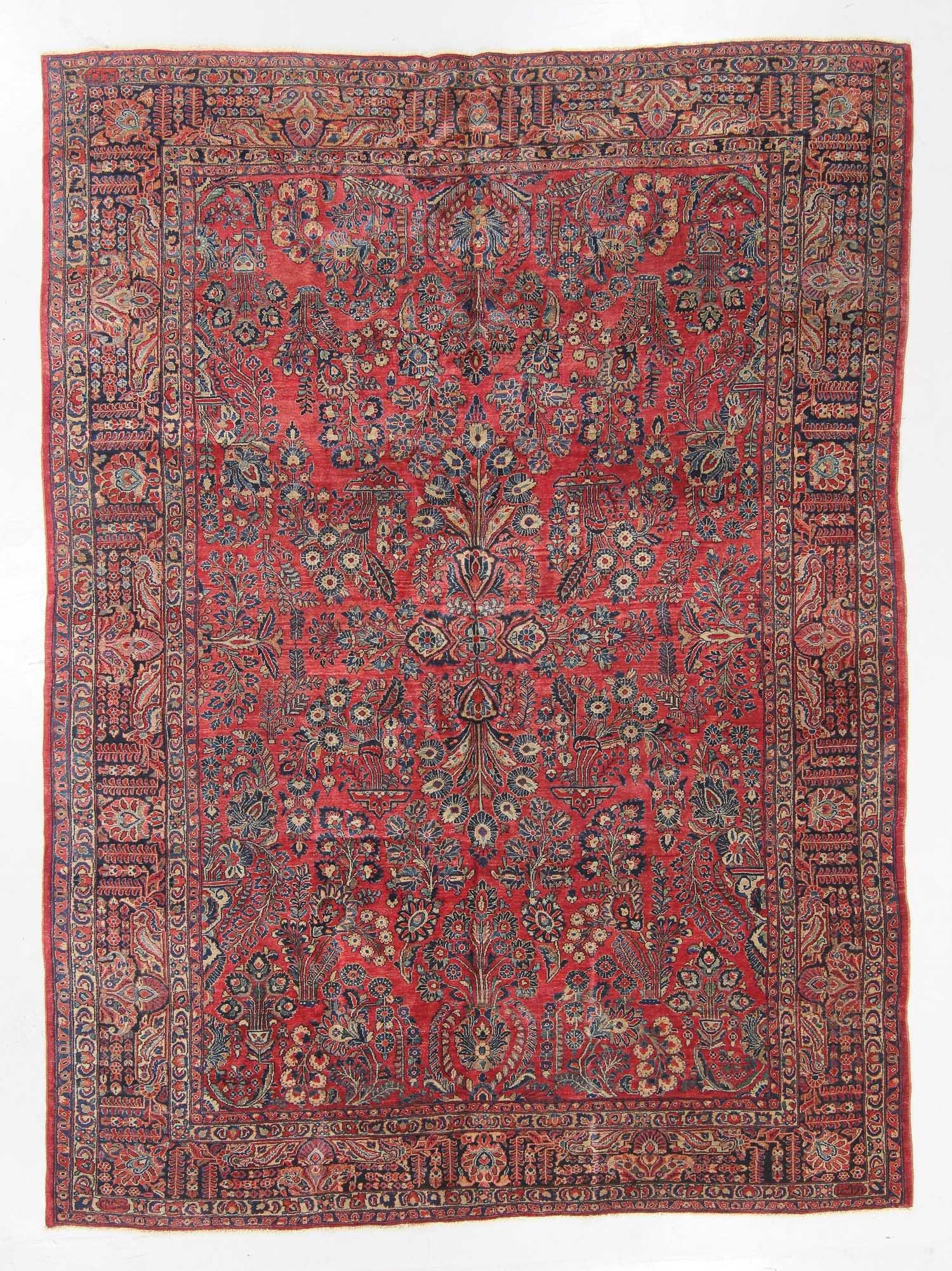 Antique Signed Sarouk Rug, Persia: 8'9'' x 11'10''