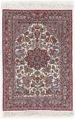 Fine Silk Foundation Isfahan Rug, Persia: 3'8'' x 5'4''