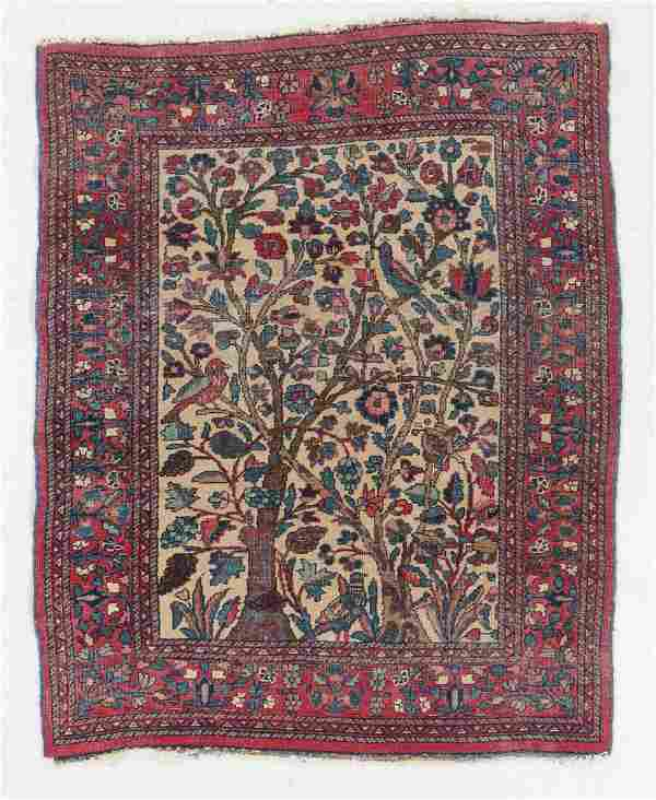 Meshed Pictorial Rug, Persia, Circa 1920, 3'4'' x 4'2''