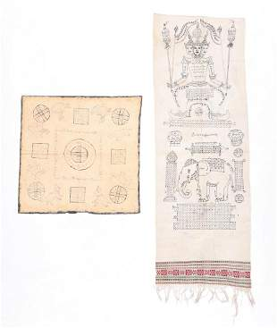 2 Old Thai Yantra Drawings on Cloth