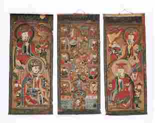 Group of 3 Fine Taoist Temple Paintings, China, 19th c.