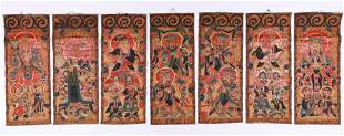 Fine Group of 7 Taoist Temple Paintings, China, 19th c.