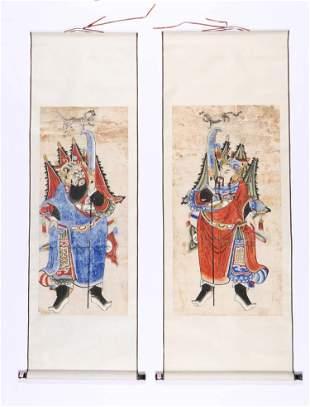 2 Paintings of Legendary Gods, China, 19th c.